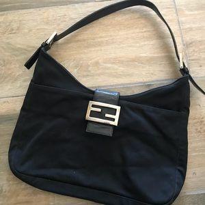 Black fendi purse canvas leather bag authentic